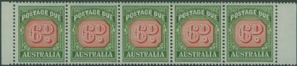 Postage Due SG D137 6d Carmine and deep Green strip of 6 s (AD1/16)